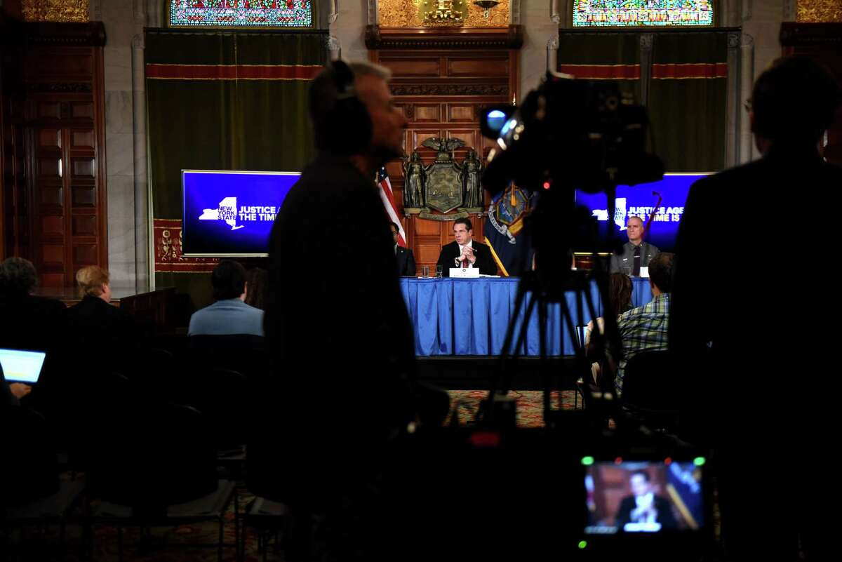 A recent $25,000 per person fundraiser by Gov. Andrew M. Cuomo was highlighted by a trio of state lawmakers on Wednesday evening as evidence for including a public financing system of political campaigns in the state budget.(Will Waldron/Times Union)