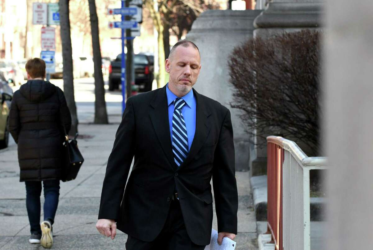 Troy police sergeant Randall French enters the Rensselaer County Courthouse on Wednesday, March 20, 2019, in Troy, N.Y. Sgt. French fatally shot Edson Thevenin during a 2016 DWI traffic stop. He never faced charges after former Rensselaer County District Attorney Joel Abelove allowed him to testify with immunity ?' a move that effectively ended any possible prosecution of the officer. He was in court for an unrelated trail. (Will Waldron/Times Union)