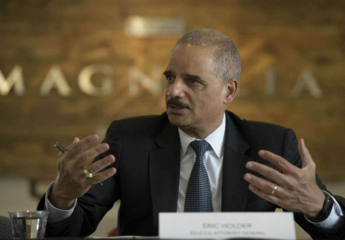 Former U.S. Attorney General Eric Holder meets community activits and area college student leaders during a round table to discuss the census in 2020 and redistricting in 2021 on Wednesday, March 20, 2019, in Houston. Building power in Houston's young Latino population and getting Latnio community to vote in the future at the state level was a big part of the discussion.