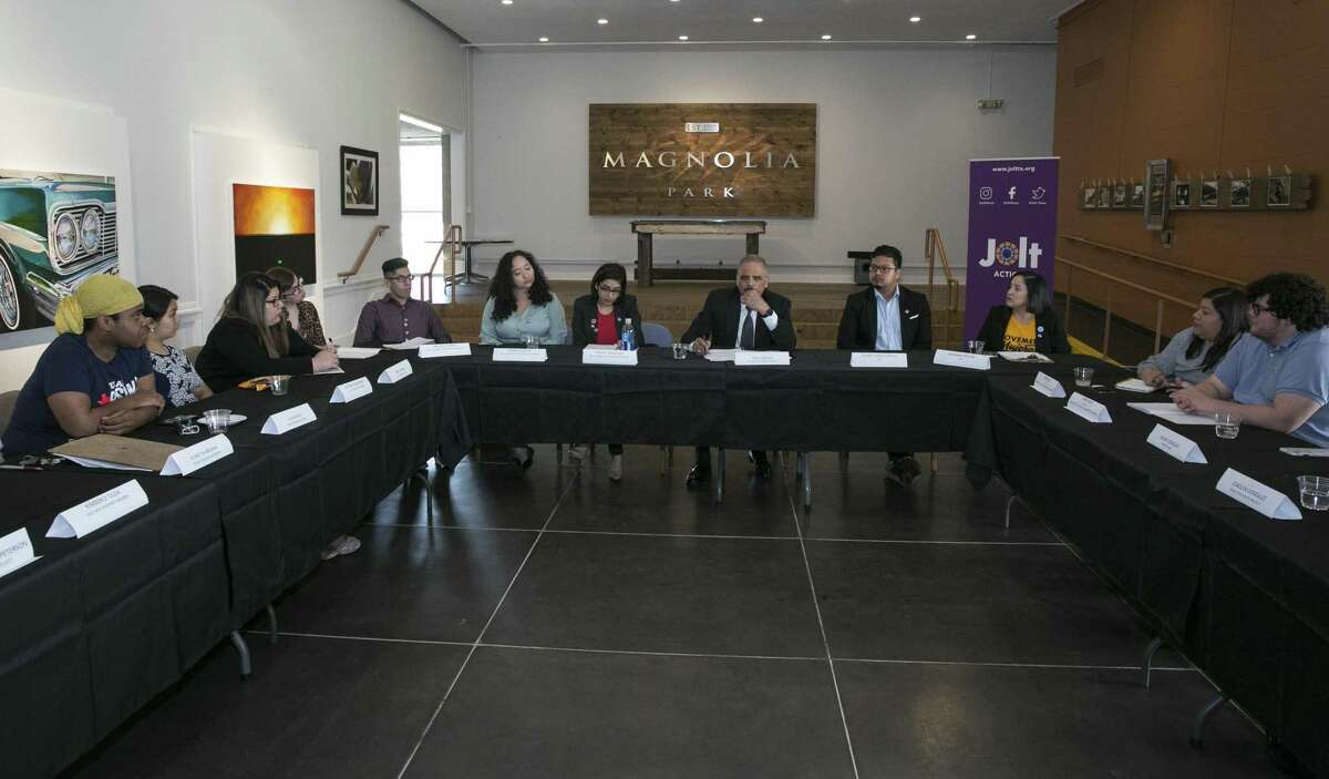 Former U.S. Attorney General Eric Holder meets community activits and area college student leaders during a round table to discuss the census in 2020 and redistricting in 2021on Wednesday, March 20, 2019, in Houston. Building power in Houston's young Latino population and getting Latnio community to vote in the future at the state level was a big part of the discussion.