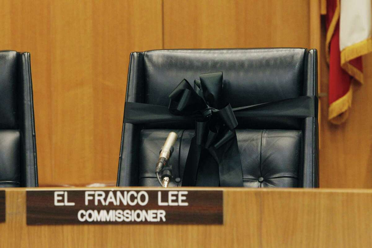 At the Harris County Commissioners Court meeting, El Franco Lee's chair is draped with a black ribbon Tuesday, Jan. 5, 2016, in Houston. ( Steve Gonzales / Houston Chronicle)