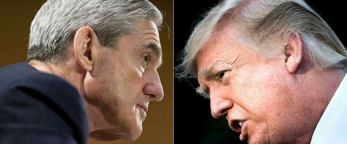 (COMBO) This combination of pictures created on January 8, 2018 shows file photos of FBI Director Robert Mueller (L) on June 19, 2013 in Washington, DC; and US President Donald Trump on December 15, 2017 in Washington, DC.