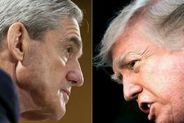 (COMBO) This combination of pictures created on January 8, 2018 shows file photos of FBI Director Robert Mueller (L) on June 19, 2013 in Washington, DC; and US President Donald Trump on December 15, 2017 in Washington, DC. - According to March 22, 2019 US media reports, independent prosecutor Robert Mueller has submitted his final report on the investigation into possible collusion with Russia in the 2016 election. (Photos by SAUL LOEB and Brendan Smialowski / AFP)SAUL LOEB,BRENDAN SMIALOWSKI/AFP/Getty Images