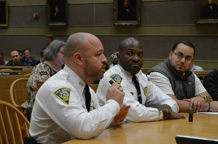 Now interim New Haven Police Chief Otoniel Reyes and then Police Chief Anthony Campbell sit before the joint Legislation and Public Safety Committee testifying about a new civilian review board. Photo: Clare Dignan / Hearst Connecticut Media File Photo /