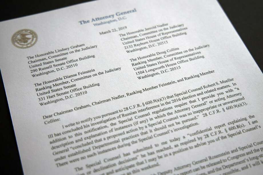 A copy of a letter from Attorney General William Barr advising Congress that Special Counsel Robert Mueller has concluded his investigation, is shown Friday, March 22, 2019 in Washington.  Robert Mueller on Friday turned over his long-awaited final report on the contentious Russia investigation that has cast a dark shadow over Donald Trump's presidency, entangled Trump's family and resulted in criminal charges against some of the president's closest associates. (AP Photo/Jon Elswick) Photo: Jon Elswick, Associated Press
