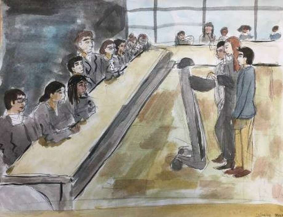Artist rendering by Academy of Information Technology and Engineering senior Catie Massa of a mock Supreme Court trial held at the school on Feb. 25. Photo: Donia Elmansy/Contibuted Photo