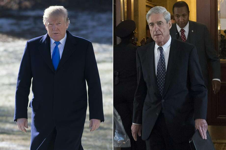 (COMBO) This combination of pictures created on January 24, 2018 shows US President Donald Trump on the South Lawn of the White House in Washington, DC, January 5, 2018; and former FBI Director Robert Mueller, special counsel on the Russian investigation, at the US Capitol in Washington, DC on June 21, 2017. Photo: Saul Loeb, AFP/Getty Images