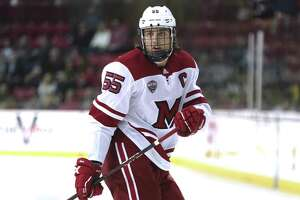 Miami RedHawks defenseman Grant Hutton during a game against the Minnesota-Duluth Bulldogs on Jan. 18, 2019, in Oxford, Ohio.