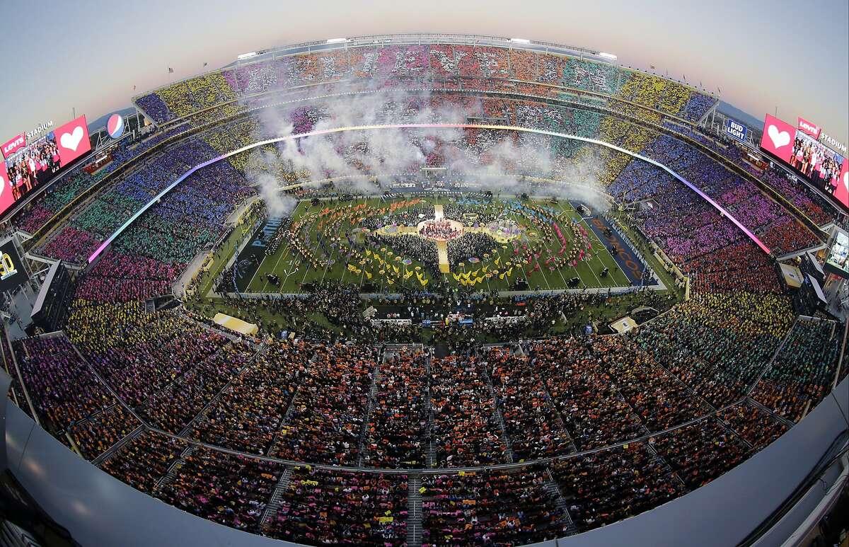 Beyonc�, Coldplay singer Chris Martin and Bruno Mars perform during halftime of the NFL Super Bowl 50 football game Sunday, Feb. 7, 2016, in Santa Clara, Calif. (AP Photo/Morry Gash)