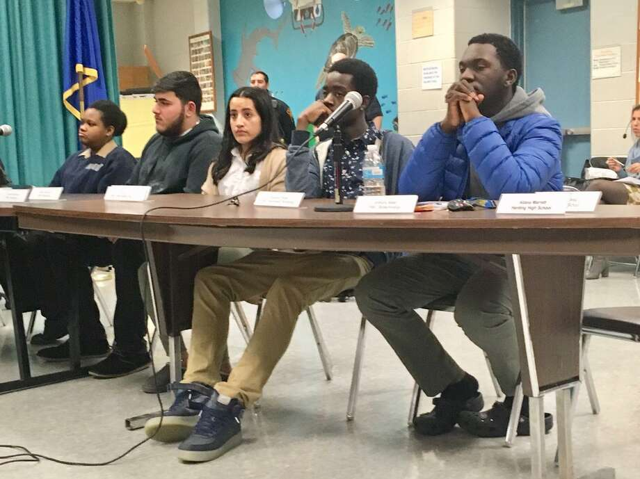 Student Representatives to the Bridgeport Board of Education sit silent through most of the March 11, 2019 business meeting. Their reports have been moved to a quarterly program announced last minute. Photo: Linda Conner Lambeck /