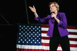 Sen. Elizabeth Warren (D-Mass.), a candidate for president, speaks at a campaign rally in New York on March 8. Warren has proposed that large tech companies like Amazon, Google and Facebook should be broken up.