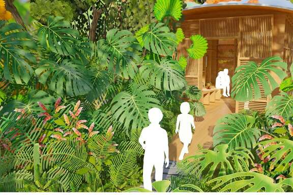 """A rendering of a """"Children's Cabinet"""" at Houston Botanic Garden, where visitors will be invited to learn more about some of the plants they see growing."""