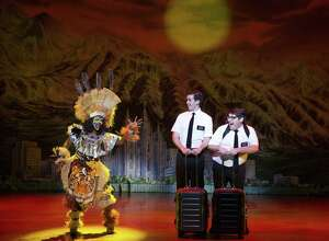 "Monica L. Patton, Kevin Clay and Conner Peirson appear in the national touring production of ""The Book of Mormon."" The musical will be onstage at The Palace Theater in Waterbury, April 9-14."