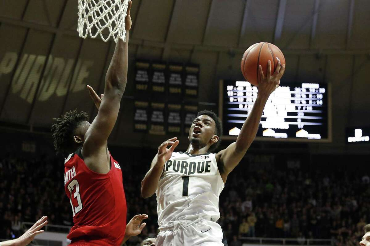 WEST LAFAYETTE, INDIANA - JANUARY 15: Aaron Wheeler #1 of the Purdue Boilermakers shoots the ball in the game against the Rutgers Scarlet Knights during the second half at Mackey Arena on January 15, 2019 in West Lafayette, Indiana. (Photo by Justin Casterline/Getty Images)
