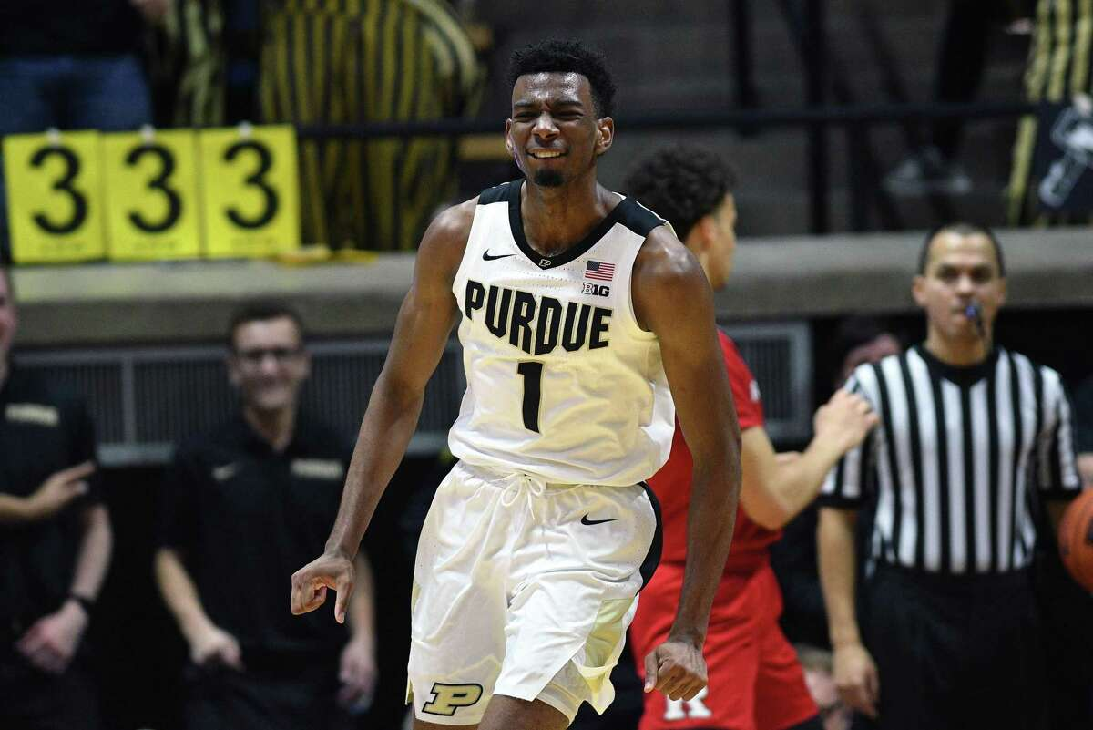 WEST LAFAYETTE, IN - JANUARY 15: Purdue Boilermakers forward Aaron Wheeler (1) reacts after being whistled for hanging on the rim during the Big Ten Conference college basketball game between the Rutgers Scarlet Knights and the Purdue Boilermakers on January 15, 2019, at Mackey Arena in West Lafayette, Indiana. (Photo by Michael Allio/Icon Sportswire via Getty Images)