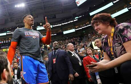Oklahoma City Thunder's Russell Westbrook gets into a heated verbal altercation with fans in the first half of an NBA basketball game March 11 against the Utah Jazz in Salt Lake City.