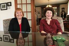 The Katy Heritage Society is reorganizing. Helping the effort are, from left, Marilyn Frishman, vice president, and Pam Beckendorff, director. They took time to talk about the reorganization at the Wright Museum.