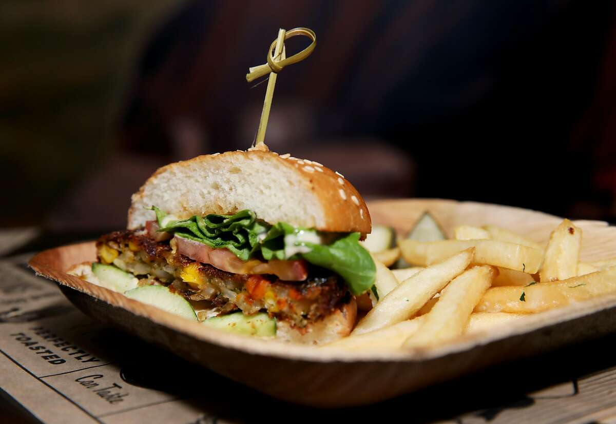 A organic vegetarian patty with hummus, cucumber, and super sauce from Super Duper Burgers is available for sampling during the San Francisco Giants Media Day at Oracle Park in San Francisco, Calif., on Friday, March 22, 2019.