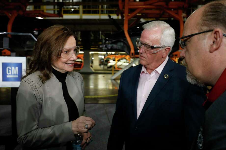 LAKE ORION, MI - MARCH 22: General Motors Chairman and CEO Mary Barra (L) speaks with United Auto Workers Vice President Terry Dittes (C) before she announced a $300 million investment in the GM Orion Assembly Plant plant for electric and self-driving vehicles at the Orion Assembly Plant on March 22, 2019 in Lake Orion, Michigan. Barra also announced that GM will be investing a total of $1.8 billion in plants in 6 states. (Photo by Bill Pugliano/Getty Images) Photo: Bill Pugliano / 2019 Getty Images