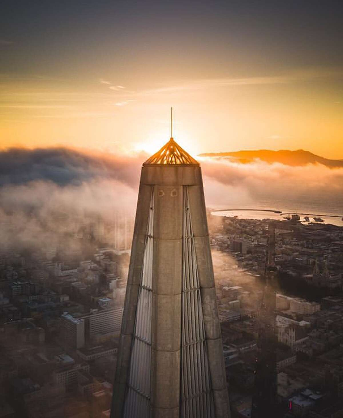 """A view of the """"crown jewel"""" on top of the Transamerica Pyramid."""