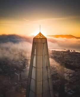 "A view of the ""crown jewel"" on top of the Transamerica Pyramid."