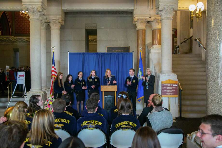 State Representative Michelle Cook, D-Torrington, and Speaker of the House Joe Aresimowicz, D-Berlin/Southington, and State Representative Maria Horn, D-Torrington met with students and alumni from some of the state's Agriculture Science and Technology Education programs to discuss their importance and impact on the state economy during a press conference, held March 20, 2019. Photo: Contributed Photo
