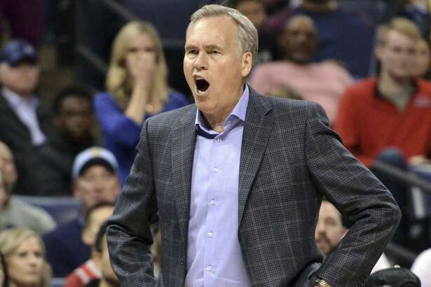 Houston Rockets coach Mike D'Antoni reacts during overtime of the team's NBA basketball game against the Memphis Grizzlies on Wednesday, March 20, 2019, in Memphis, Tenn. (AP Photo/Brandon Dill)