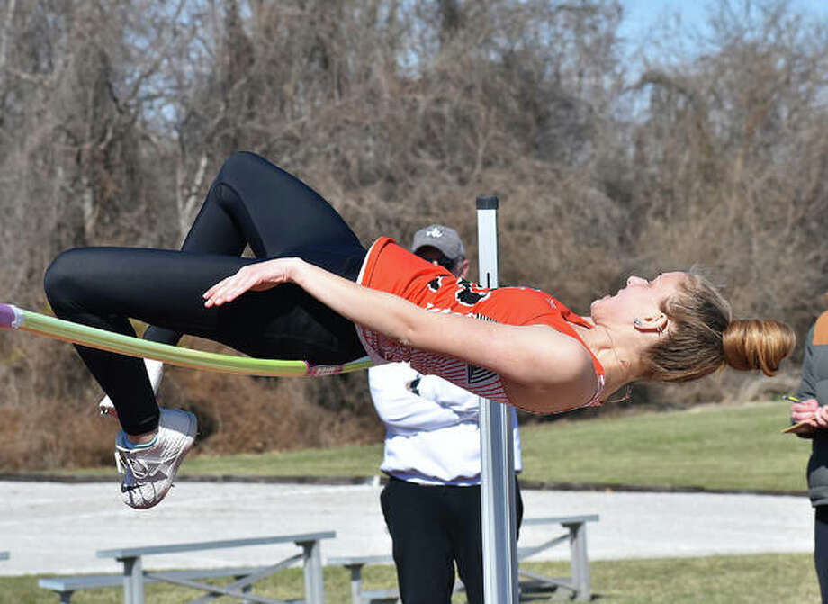 Edwardsville's Brooke Allen tries to successfully make her high jump during the Southwestern Illinois Relays on Friday in Edwardsville. Photo: Matt Kamp/The Intelligencer