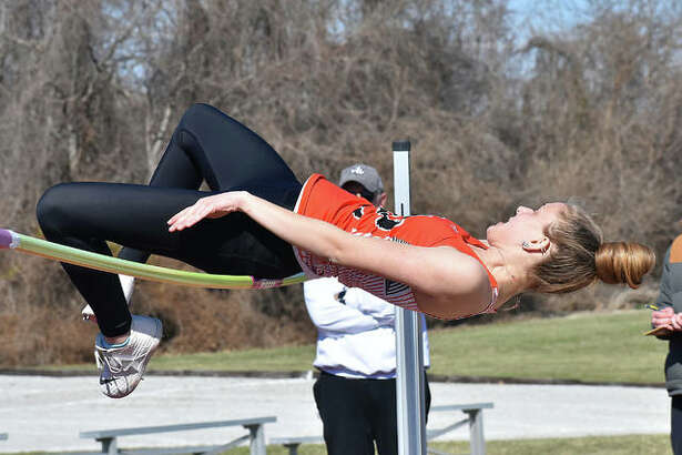 Edwardsville's Brooke Allen tries to successfully make her high jump during the Southwestern Illinois Relays on Friday in Edwardsville.