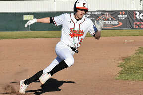 Edwardsville's Joe Copeland rounds third base on his way home on Hayden Moore's two-run single in the third.