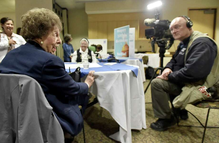 Derby, Connecticut - Friday, March 22, 2019: Nellie Hapak, a longtime volunteer at the hospital, during her 100th Birthday Celebration event at Griffin Hospital Friday in Derby honoring her. Photo: Peter Hvizdak / Hearst Connecticut Media / New Haven Register