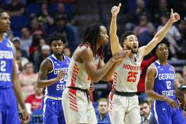 Houston Cougars guard Galen Robinson Jr. (25) wants a jump ball call while on defense against Georgia State Panthers in the first round of NCAA playoffs at BAK Center on Friday, March 22, 2019 in Tulsa.