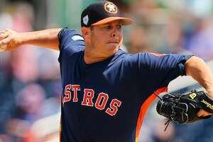 WEST PALM BEACH, FL - MARCH 11: Pitcher Brad Peacock #41 of the Houston Astros delivers a pitch against the New York Mets during the fifth inning of a spring training baseball game at Fitteam Ballpark of the Palm Beaches on March 11, 2019 in West Palm Beach, Florida. The Astros defeated the Mets 6-3. (Photo by Rich Schultz/Getty Images)