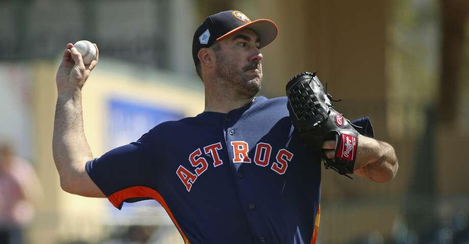 PHOTOS: Top prospects In this March 7, 2019, file photo, Houston Astros pitcher Justin Verlander throws during the first inning of a spring training baseball game against the Miami Marlins at the Roger Dean Chevrolet Stadium on Thursday, in Jupiter, Fla. (David Santiago/Miami Herald via AP, File) Browse through the photos to see the Astros' top prospects ahead of the 2019 season. Photo: David Santiago/Associated Press