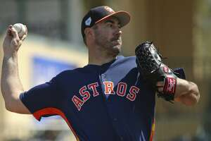 FILE - In this March 7, 2019, file photo, Houston Astros pitcher Justin Verlander throws during the first inning of a spring training baseball game against the Miami Marlins at the Roger Dean Chevrolet Stadium on Thursday, in Jupiter, Fla. (David Santiago/Miami Herald via AP, File)