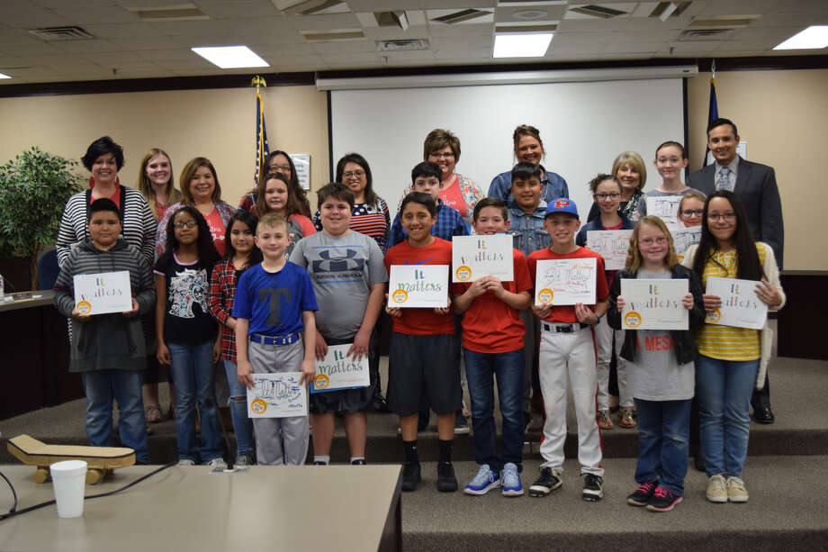"La Mesa Elementary students were recognized at a Thursday evening Plainview ISD Board meeting for writing and illustrating books called ""It Matters."" Photo: Ellysa Harris/Plainview Herald"