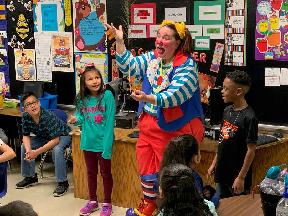 Skeeter the Clown visited Akin Elementary students this week. Photo: Hale Center Lions Club/Courtesy Photo