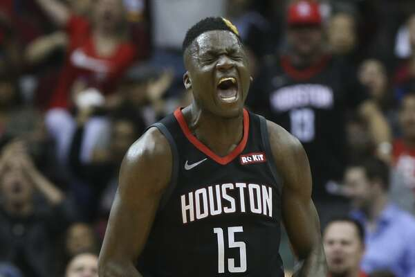 Houston Rockets center Clint Capela (15) celebrates his dunk during the fourth quarter of the NBA game against the San Antonio Spurs at Toyota Center on Friday, March 22, 2019, in Houston. The Houston Rockets defeated the San Antonio Spurs 111-105.