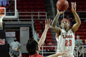 Lamar's Moe Kinard puts up an outside shot against South Alabama during their opening round of WNIT tournament play Friday at the Montagne Center. Photo taken Friday, March 22, 2019 Kim Brent/The Enterprise