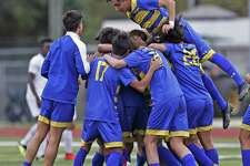 Alamo Heights celebrate their victory over Brackenridge. Alamo Heights v Brackenridge in girls 27-5A soccer match on Friday, March 22 , 2019 at Alamo Heights.