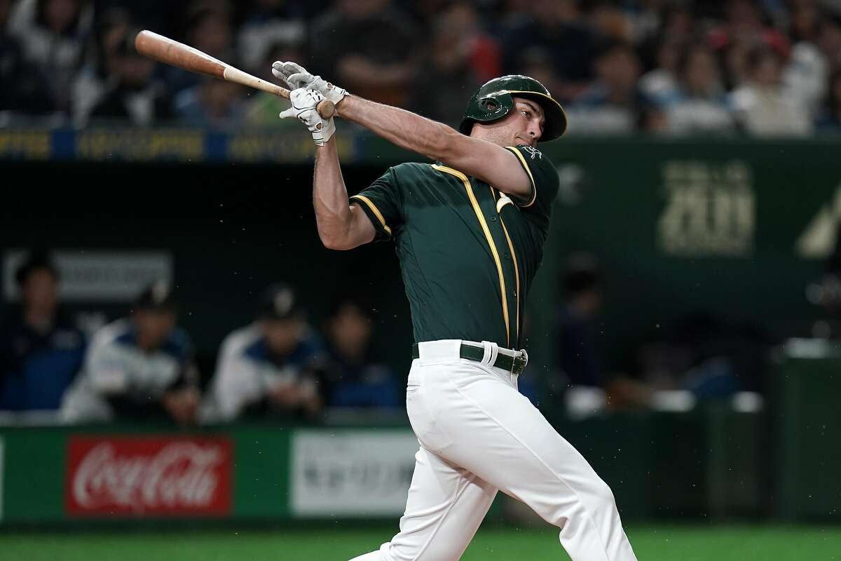 TOKYO, JAPAN - MARCH 18: Infielder Matt Olson #28 of the Oakland Athletics grounds out in the top of 3rd inning during the preseason friendly game between Hokkaido Nippon-Ham Fighters and Oakland Athletics at Tokyo Dome on March 18, 2019 in Tokyo, Japan. (Photo by Masterpress/Getty Images)