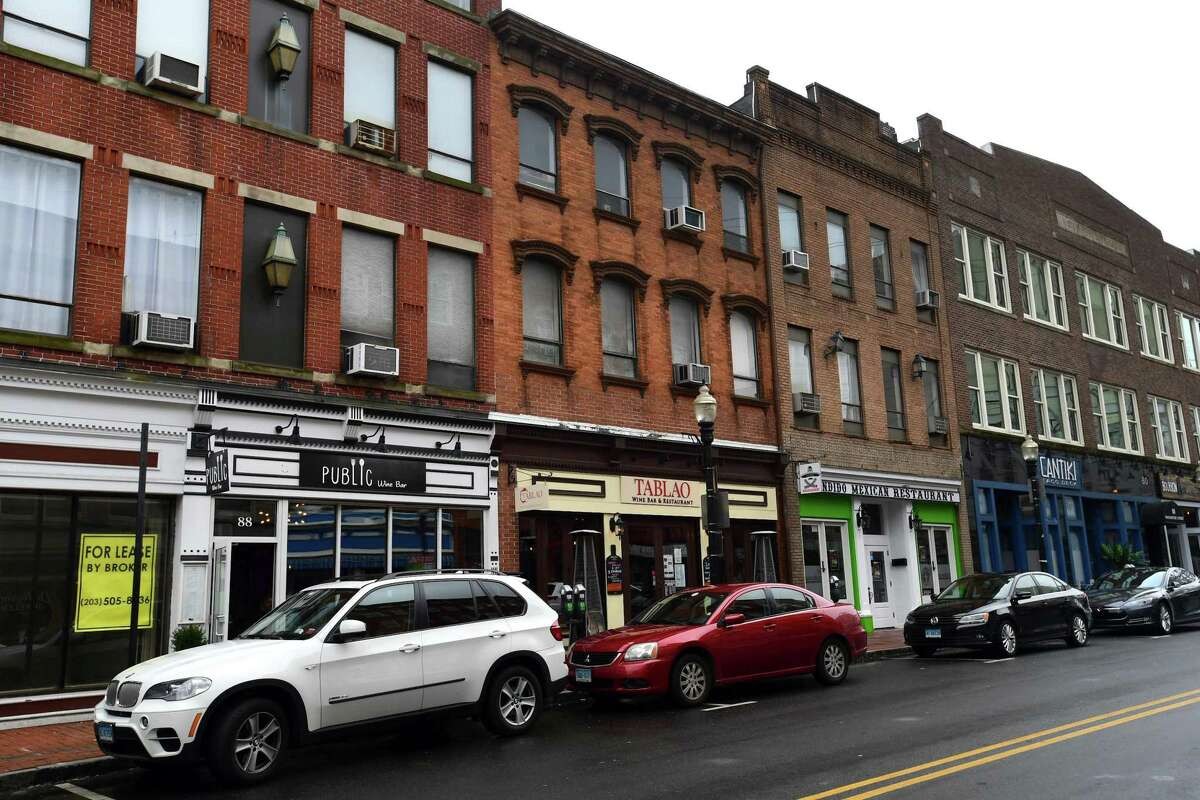 Businesses along Washinton Street Friday, March 22, 2019, in Norwalk, Conn. Norwalk passed a noise ordinance in May with specific regulations for the Washington Street district, but a review by the state's Department of Energy and Environmental Protection has the new regulations on hold.