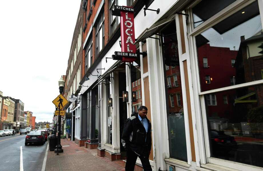 Businesses along Washinton Street last month in Norwalk. Photo: Erik Trautmann / Hearst Connecticut Media / Norwalk Hour