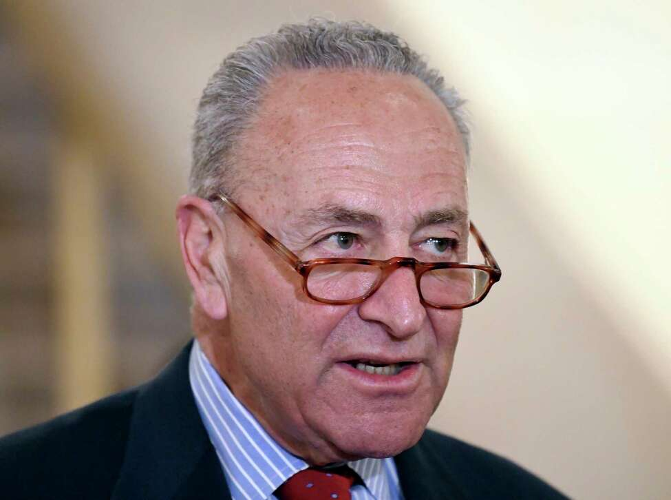 United States Senate Minority Leader Chuck Schumer, D-N.Y., speaks on the Power Act legislation providing state and local law enforcement with new high-tech, portable screening devices to quickly identify dangerous drugs like fentanyl, in the field during a news conference at the Albany County Courthouse, in Albany, N.Y., Monday, March 18, 2019. (Hans Pennink/ Special to the Times Union)