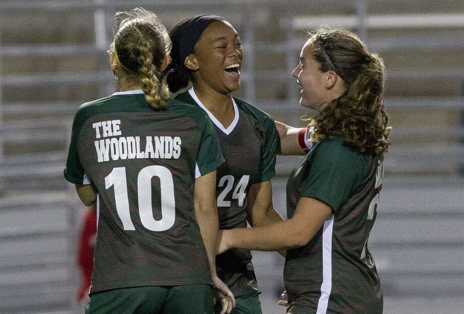 The Woodlands forward Samone Knight (24) reacts after scoring a goal during the second period of a District 15-6A high school soccer match at Woodforest Bank Stadium, Friday, March 8, 2019, in Shenandoah. Photo: Jason Fochtman, Houston Chronicle / Staff Photographer / © 2019 Houston Chronicle