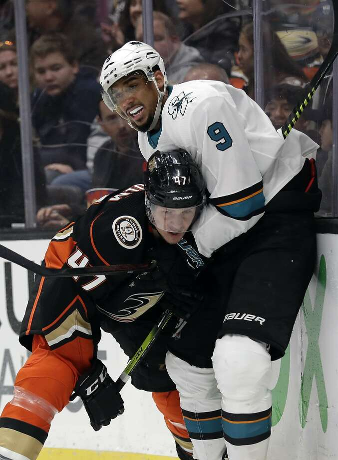 Anaheim Ducks' Hampus Lindholm (47) collides with San Jose Sharks' Evander Kane (9) during the third period of an NHL hockey game Friday, March 22, 2019, in Anaheim, Calif. (AP Photo/Marcio Jose Sanchez) Photo: Marcio Jose Sanchez, Associated Press