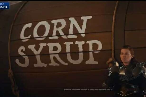 "Screen capture from Bud Light ""corn syrup"" commercial."
