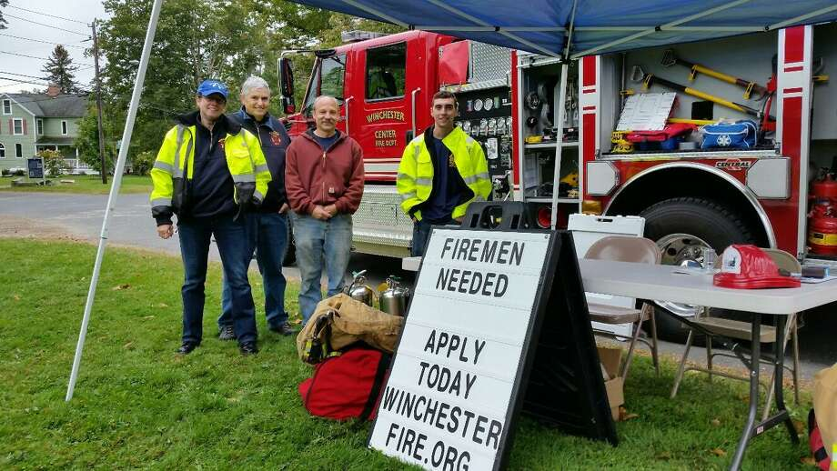 Members of the Winchester Center Volunteer Fire Department shown hear at a membership drive in 2017. Photo: NF Ambery