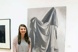 """Honors College student Katherine Schoeberle placed third for her oil painting, """"Drapery Study #6,"""" during L&C's 2018 Student Art Exhibit."""