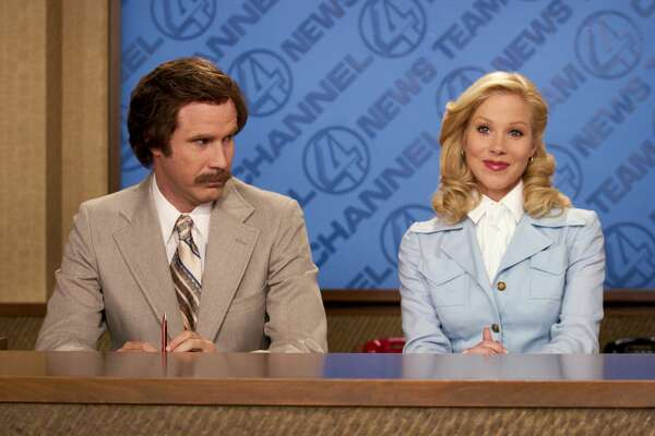 "Will Ferrell (left) and Christina Applegate in a scene from ""Anchorman."""